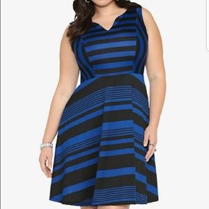 Torrid Black Royal Blue Striped Stretchy Dress